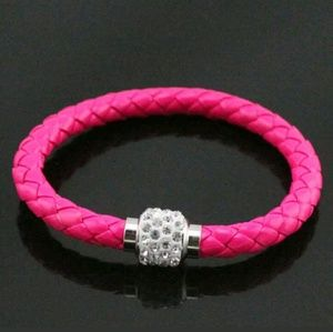 Jewelry - Hot Pink and White Rhinestone Magnetic Bracelet
